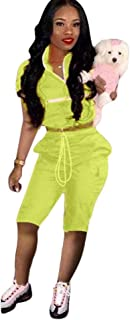 Salimdy Women Sexy 2 Piece Outfits Tracksuit Jumpsuits Lightweight Windbreaker Pullover Crop Top Short Pants Set