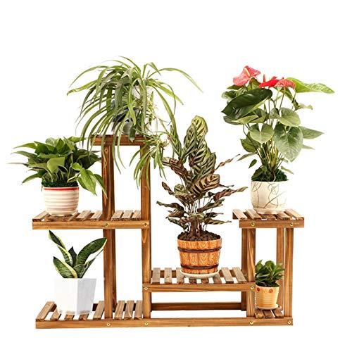 HJ Carbonisées bois usine Support à plateau supérieur Niveau inférieur Shelf Gain d'espace fleur Étalage for le jardin Patio Balcon Salon Salle de bain intérieure Bureau extérieur