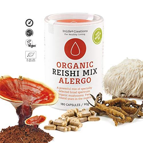 Organic Mushroom Mix 4 Complex - ALERGO | Lion's Mane + Murill + Maitake + Reishi | 180 caps x 500mg | Grown 100% in EU | Vegan + GF | Eco Packaging | No 'Non - EU Agriculture' - New