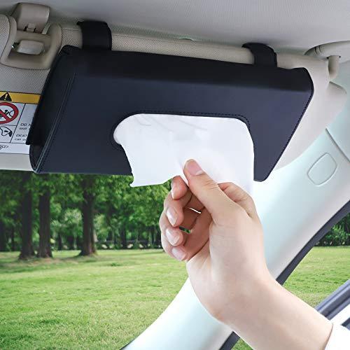 Accmor Car Tissue Holder, Hanging Car Visor Tissue Holder Paper Towel Clip, PU Leather Backseat Sun Visor Napkin Holder Tissue Case Paper Box for car, Vehicle Auto, SUV