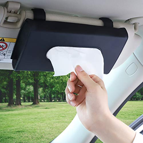 Accmor Car Tissue Holder, Hanging Car Visor Tissue Holder Paper Towel Clip, PU Leather Backseat Sun Visor Napkin Holder Tissue Case Paper Box for car, Vehicle Auto, SUV