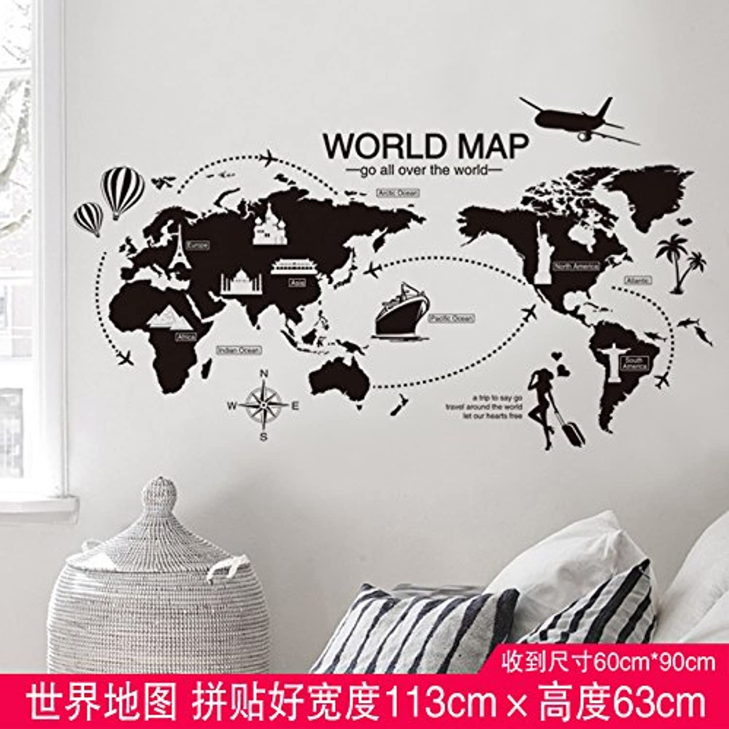 Znzbzt Self Adhesive Wall Sticker Small Pieces of Flowers on The Wall in The Living Room Wall Posters, a map of The World, King