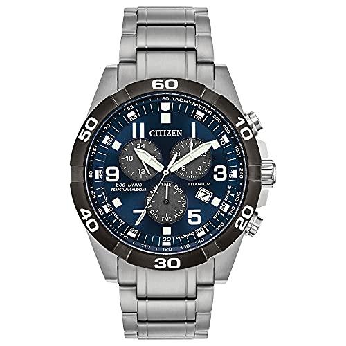 Citizen Eco-Drive Brycen Chronograph Mens Watch, Super Titanium, Weekender, Two-Tone (Model: BL5558-58L)