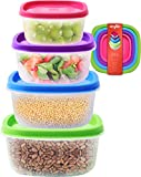 Kryllic Food Storage Containers with Airtight Lids Lunch Box - Plastic Clear Kitchen Stackable Pantry Organizer Freezer For Fresh Cereal Dry Food Sugar Pasta, Set of 4 Sizes Leak Proof