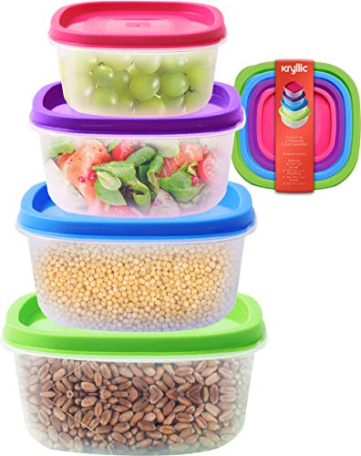 Kryllic Food Storage Containers with Airtight Lids - Lunch Box - Plastic Clear Kitchen Stackable Pantry Organizer Freezer For Fresh Cereal Dry Food Sugar Pasta, Set of 4 Sizes Leak Proof