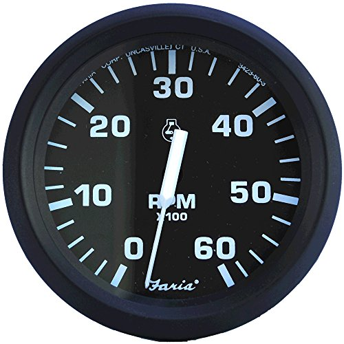 Review Of Faria Euro Black 4 Tachometer - 6,000 RPM (Gas - Inboard & I/O)