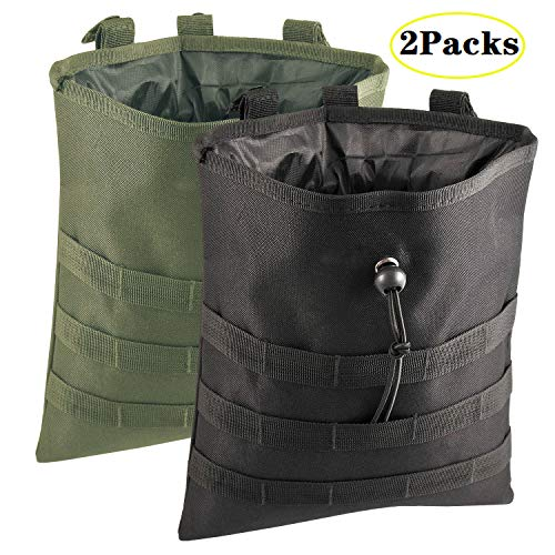 ALTBP Tactical Utility Tool Drawstring Magazine Dump Pouch Hip Thigh Drop Waist Bag Pack Water Bottle Holder Carrier (Black Green 12'x10' 2Packs)