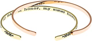 Maid of Honor Gift, Hand Stamped Copper Bridesmaid Bracelets, My Maid of Honor My Sister Forever