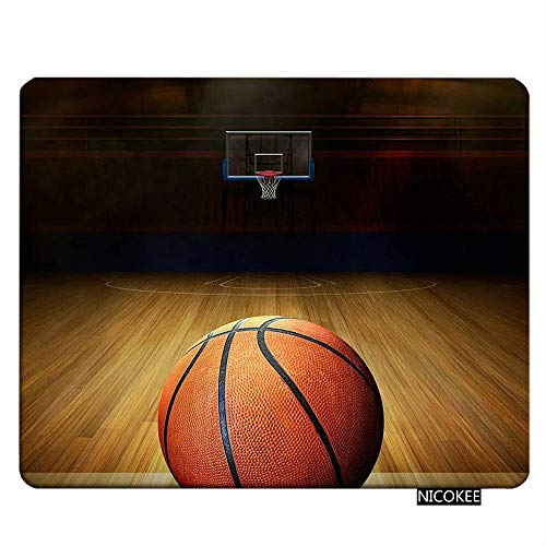 Nicokee Sport Gaming Mousepad Vintage Basketball Court Pattern Mouse Pad Rectangle Mouse Mat for Computer Desk Laptop Office 9.5 X 7.9 Inch Non-Slip Rubber
