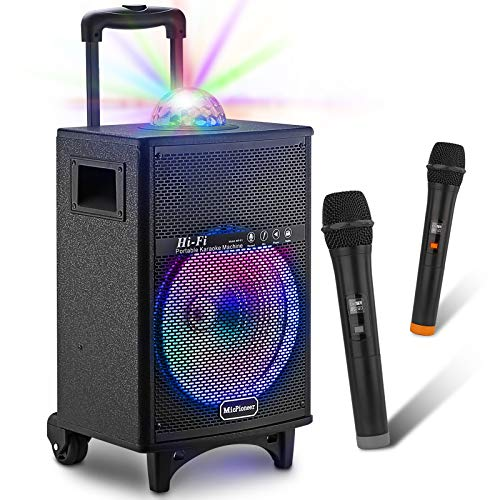 MicPioneer Bluetooth Karaoke Machine for Kids & Adults with 2 Wireless Microphones, Portable Karaoke Speaker with Disco Lights, Toys Gift for Kids, Boys & Girls
