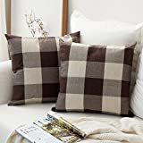 Pack of 2 Miulee Classic Retro Checkers Plaids Cotton Linen Soft Soild Decorative Square Throw Pillow Covers Brown and White Home Decor Design Cushion Case for Sofa Bedroom Car 20 x 20 Inch 50 x 50 Cm