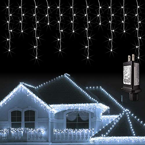 JMEXSUSS 38.8FT 400 LED Icicle Lights 8 Modes Waterproof Christmas Icicle Lights Outdoor with 80 Drops , Indoor Cool White Curtain Icicle Lights