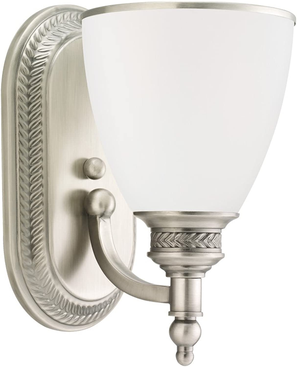 Sea Gull Lighting 41350-965 Laurel Leaf One-Light Bath or Wall Light Fixture with Etched Ripple Glass Shade, Antique Brushed Nickel Finish