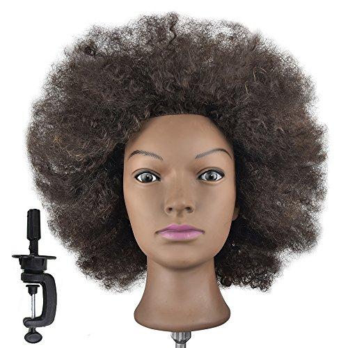 Training Hoofd 100% Echt Menselijk Haar Cosmetologie Kappers Mannequin Manikin Pop Afro (Tabel Klem Houder Inbegrepen)