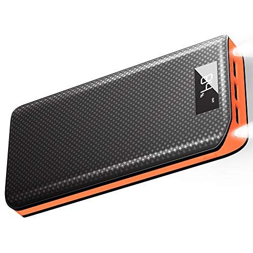 X-DRAGON Externer Akku 20000mAh 3 USB Ports Power Bank mit LCD Display Handy Ladegerät für iPhoneX/8/8 Plus/7/6s, iPad, Samsung Galaxy, Android, Huawei - Orange