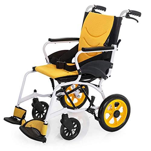 ZHAS Leicht faltbaren Rollstuhl, Hand Aluminium Rollstuhl, Leichtes High-End faltbaren Rollstuhl, Geeignet für Innen- und Außenanwendungen, für ältere Menschen, Behinderte Yellow1