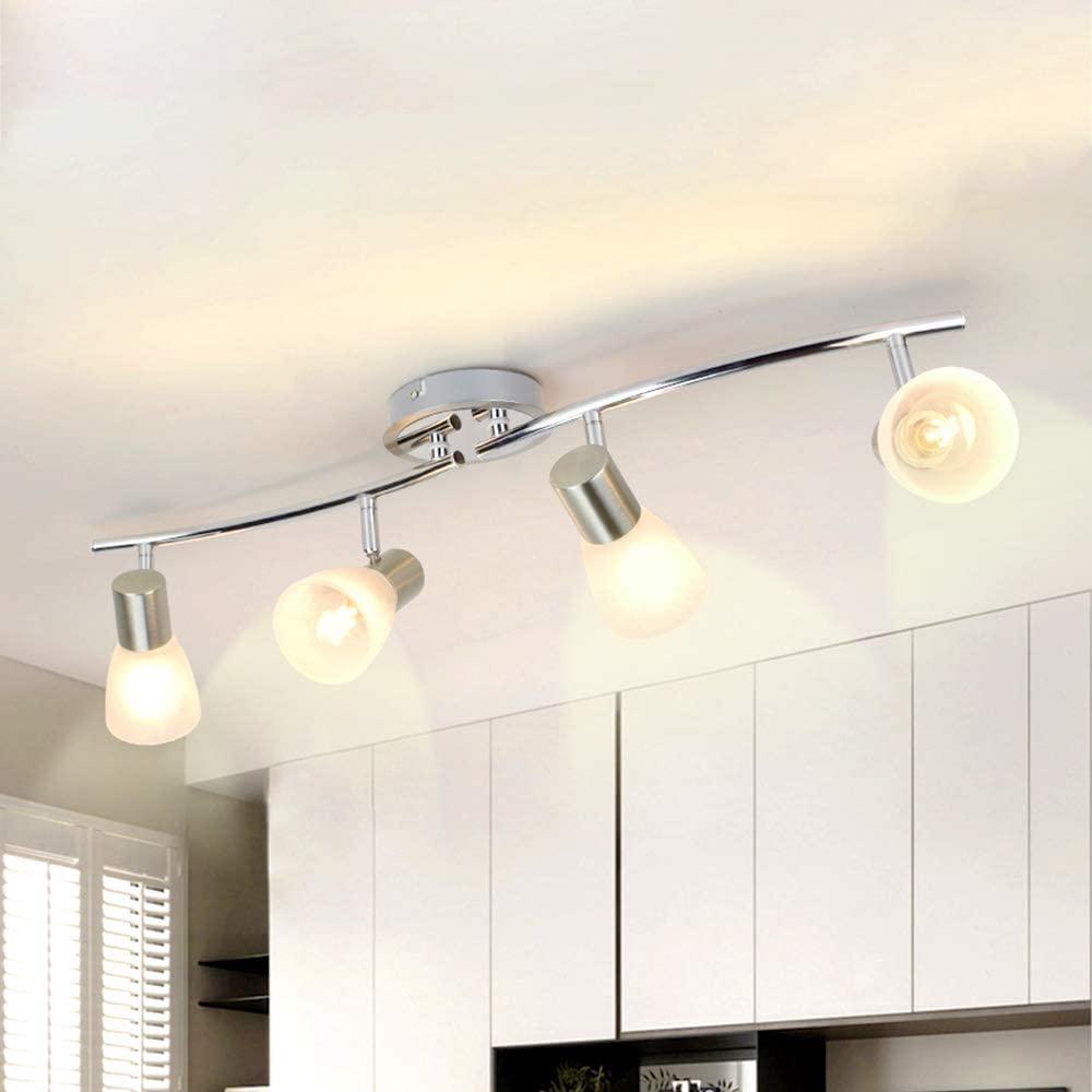 Depuley 9 Way Rotatable LED Ceiling Spotlight with Patterned Glass  Lampshade, Adjustable Swiveling Spot Bar, Kitchen Ceiling Lights for  Kitchen, ...