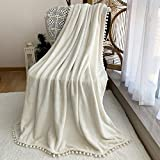 FANSIY Flannel Throw Blanket with Pompom Tassel Cozy Bed Blanket Soft Blanket for Couch Sofa Home Decor(Ivory,51x63)