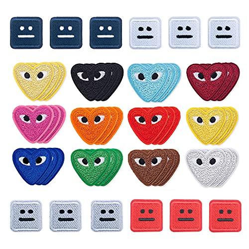 Woohome 54 Stück Flicken Patches, Cartoon Liebe Herz Patches Auge Patches Zum Aufbügeln Bügelflicken Kinder Applique Zubehör für Kinder DIY Basteln, Kleidung Jeans Taschen