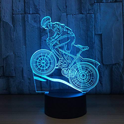 LPHMMD Nachtlampje 7 Kleuren Lamp USB 3D LED Lamp Mountain Bike 3D Nachtlampjes Slee Lamp als Home Decoratie Jaar Gift Vrienden