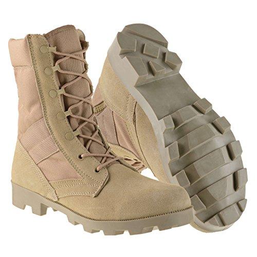 Ameritac 9″ Side Zip Suede Leather Combat Work Outdoor Men's Desert Tan Boots Size 9