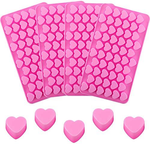 4PCS Silikonform Herzchen Praline Silikon Mini Herzförm Eiswürfel Schokolade Form Süßigkeiten Dekoration Förmchen Bonbon Schoko Verzierung zur Herstellung von Seifen und Kerzen Rosa