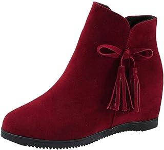 f1598d143c8 Logobeing Cuñas para Mujer de Gamuza con Cremallera Borla Botines Zapatos  Casuales Martin Boots Botines Zapatillas