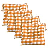 JeogYong Kitchen Chair Cushions with Ties, Set of 4 Buffalo-Check Chair Pads/Seat Cushions for Kitchen and Dining Room Chairs, 16 x 16 Inches Orange and White Buffalo-Plaid Christmas Decorations