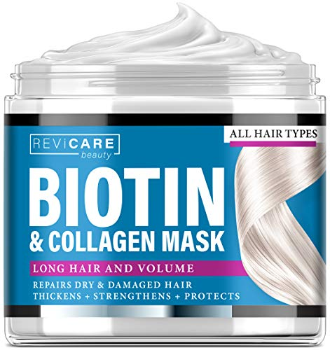 Biotin and Collagen Mask - Made in USA - Natural Hair Mask with Collagen & Biotin for Dry Damaged Hair and Growth - Biotin & Collagen Deep Conditioning Hair Mask - Dry Hair Treatment Mask 8 oz