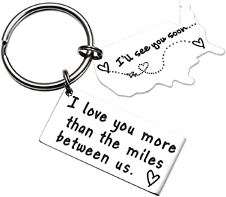 Boyfriend Girlfriend Keychain Gift for Women Men, Engraved Long Distance Map Key Ring Present Couples Love Going Away Keychain Cute Mini BFF Husband Wife Jewelry for Birthday, Valentine, Christmas