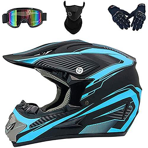 Casco MTB de cara completa con gafas, guantes, mascarilla, red para casco, motocross para niños, quad para niños, para motocicleta, para todoterreno, conjunto de equipo de protección todoterreno