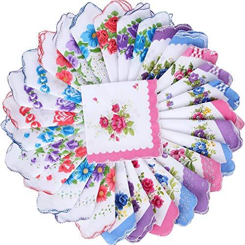 30 Piezas Pañuelos Estampado Floral Pañuelos Bolsillo