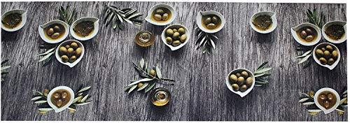 PERLARARA - Tappeto Cucina 350 cm, Passatoia Cucina Antiscivolo Lavabile 52x350 cm Tappeto a Metraggio in PVC, Tappeto Cucina Antiscivolo Lavabile  Passatoia Cucina - Fantasia Olive
