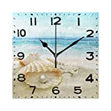 Naanle 3D Stylish Beautiful Summer Beach Seashell with Big Pearl Print Square Wall Clock Decorative, 8 Inch Battery Operated Quartz Analog Quiet Desk Clock for Home,Office,School