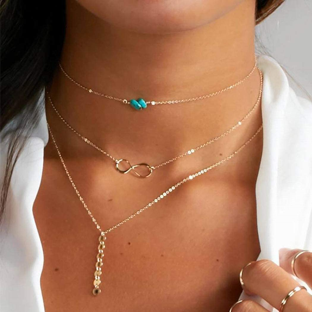 Dresbe Boho Layered Necklace Gold Sequins Necklaces Turquoise Choker Forever Neck Chain Dainty Neck Jewelry Accessories for Women and Girls