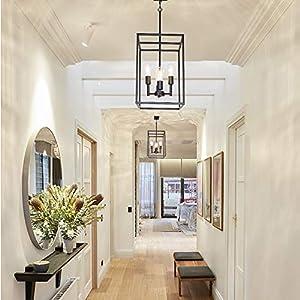 XINCAN Modern 4 Light Pendant Lighting Fixture in Black Finish,Industrial Kitchen Island Hanging Lights Lantern Chandelier for Dining Room Foyer Hallway Adjustable Height