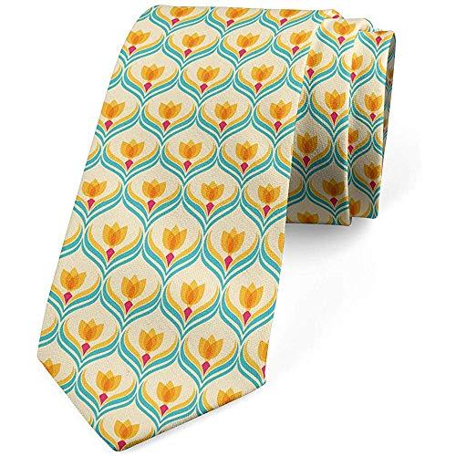 Mathillda De stropdas van de mannen, abstracte tulpe-bloemen-frisheid, champagne oranje