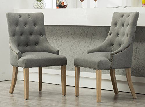 Roundhill Furniture Button Tufted Solid Wood Wingback Hostess Chairs with Nail Heads, Set of 2, Grey