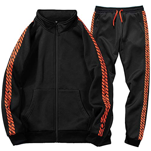 DUOFIER Men Casual Tracksuit Long Sleeve Full-Zip Running Jogging Sports Jacket and Pants, Black-XXL