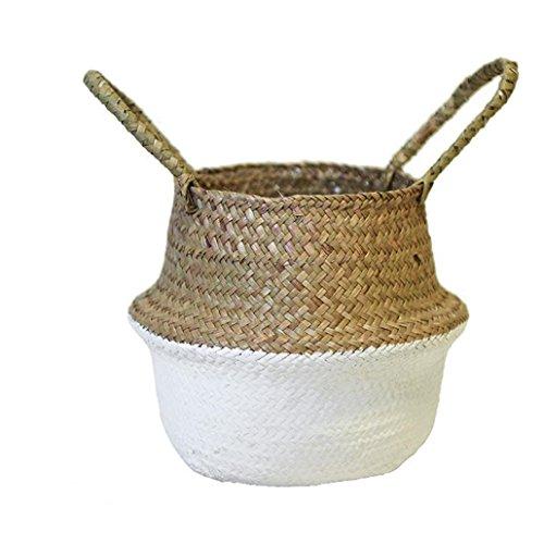 Sensail Pot à Fleurs, Panier à Plante à Suspendre Décoration de la Maison (Blanc)