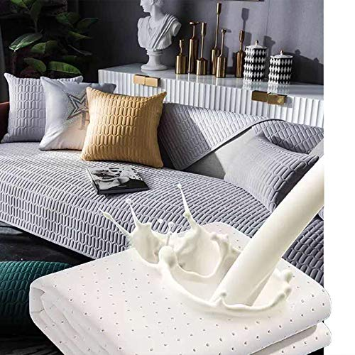 Dido´s Funda de sofá, Protector para sofá, Fundas Asientos Sofas. Funda cojín sofá de Látex, Anti-Suciedad, Acolchada, Cubre sofá Asiento Antideslizante, 3 plazas (Gris 70 x 150 cm)
