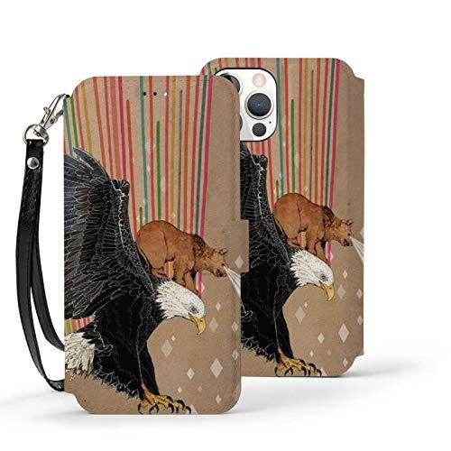 Ip12-6.1 Funda de cuero Flip Phone Wallet Cover a prueba de golpes Funly Bear Ride Eagle Laser Rainbow Protector con ranura para tarjeta Kickstand