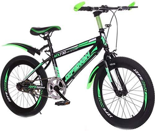 Mountainbike Kinder Single Speed Sport Freizeit Kinder Freestyle Fahrrad Männliche und weibliche Studenten Fahrrad, for Outdoor-Sport, Bewegung (Color : Black Green, Size : 20 inch)