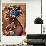 N / A Afrika Leinwand Malerei Wandkunst Gemälde Bilder Poster und Drucke Schwarze Frau Auf Leinwand Wohnkultur Wandbilder Wohnzimmer 60x90CM KEIN Rahmen