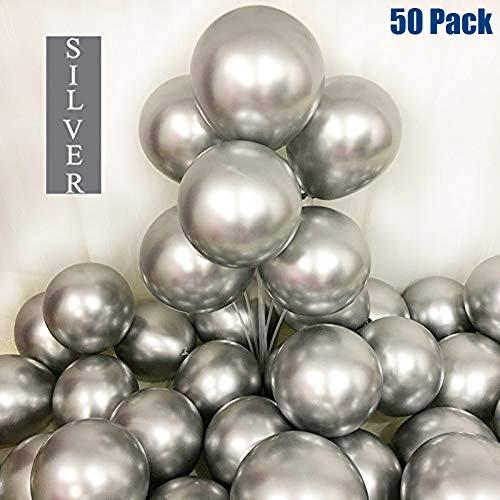 50 Stück Luftballons, Metallic Luftballons Silber, Silberne Luftballons, 12 Zoll Helium Luftballons Latexballons Partydeko Ballons für Baby Shower, Hochzeit, Geburtstag Deko, Party Dekoration(Silber)