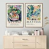 Henri Matisse Art Fishbowl Póster de dibujo abstracto Cara de mujer Arte de la pared Impresión en lienzo Pintura famosa Moder Cuadro decorativo 40x60cm (16x24in) x2 Sin marco