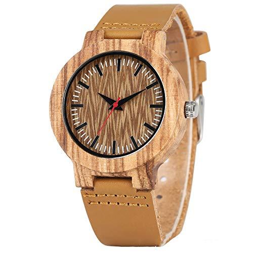 WHQ Holz Uhr, Reiner natürliches Quarz Trendy Zebra Holz Nagel gezackte Oberfläche Freizeit Sport Romantisch, gesund, umweltfreundlich QD