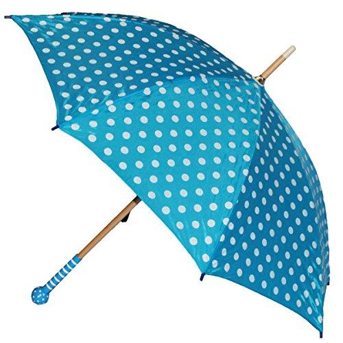 alles-meine.de GmbH 2. Wahl - Schirm blau weiße Punkte - Kinderschirm Kinder Stockschirm Regenschirm - gepunktet Punkt Mädchen 90 cm