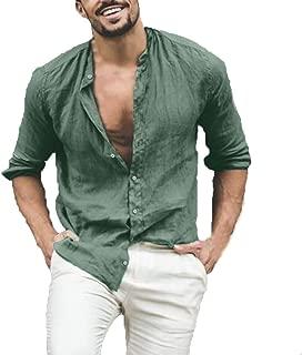 YUTING ☀‿☀ Camicia a Maniche Lunghe da Uomo Lino Estivo Camicie Casual da Uomo Tradizionale Hippy Boho Camicia da Uomo Casual Etnica
