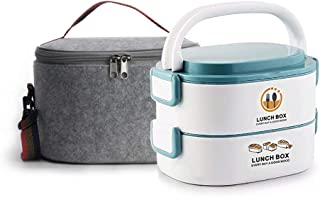 Lille Home Stackable Stainless Steel Thermal Compartment Lunch Box | 3-Tier Insulated Bento Box/Food Container with Insulated Lunch Bag & Foldable Stainless Steel Spoon 48oz 2-Tier Oval Blue